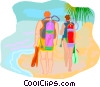 Scuba divers walking on beach Vector Clipart picture