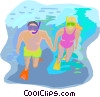 travel and vacations, snorkeling Vector Clipart illustration