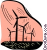 hydro electrical industry, windmills Vector Clipart illustration