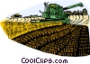 Gathering the hay crop, combine Vector Clip Art picture