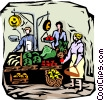 outdoor vegetable stand Vector Clipart picture