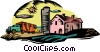 unloading grain into silos Vector Clip Art picture