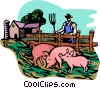Vector Clipart graphic  of a farm scene with pigs