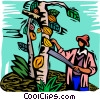 Vector Clip Art graphic  of a farm scene