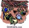 Vector Clip Art graphic  of a farmer feeding turkeys