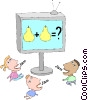 Vector Clipart illustration  of a children watching television