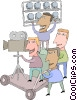 motion picture industry, film production Vector Clipart illustration