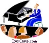 chalk style, concert pianist Vector Clipart illustration