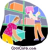 chalk style, warehouse workers Vector Clip Art image