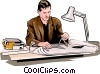 architect working with plans Vector Clip Art graphic