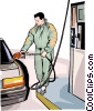 Filling up a car at the gas station Vector Clipart illustration