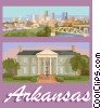 Vector Clipart picture  of an Arkansas postcard design