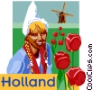 Vector Clip Art graphic  of a Holland postcard design