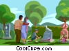 Vector Clipart picture  of a visiting a grave, paying respects