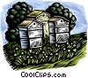 nature, woodcut style, bee keeping Vector Clipart image