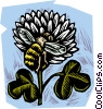 Vector Clipart picture  of a honey bee with clover