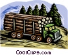 Forestry industry, lumber truck Vector Clipart illustration