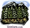 Vector Clipart graphic  of a mountain with trees