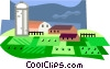 farm scene Vector Clipart graphic