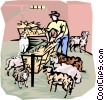 farm scene, feeding the sheep Vector Clipart picture