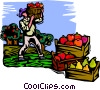 picking fruit Vector Clip Art picture