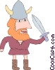 Vector Clipart image  of a Viking with a sword