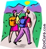 Couple hiking Vector Clip Art image