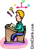 Vector Clip Art picture  of a student at his desk
