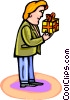 Vector Clipart picture  of a man with a gift