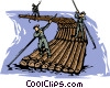 Vector Clip Art image  of a forestry floating logs down a