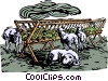sheep feeding Vector Clipart illustration