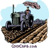 farmer with a tractor Vector Clip Art picture