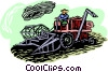 Vector Clipart graphic  of a farmer with a tractor
