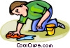 Vector Clip Art picture  of a boy playing in the sand