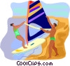 travel and vacations, windsurfing Vector Clip Art picture