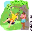 summer vacation, swing Vector Clip Art image