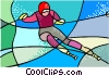 Olympic sports, downhill skiing Vector Clipart image