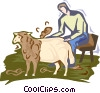 Vector Clip Art image  of a sheep shearing