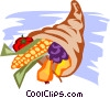 Vector Clip Art picture  of a Cornucopia with fall harvest