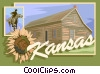 Kansas postcard design Vector Clip Art graphic