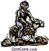 shearing a sheep, wool industry Vector Clip Art picture