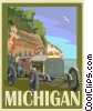 Vector Clipart graphic  of a State of Michigan