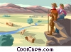 Pioneers, wagon train Vector Clipart picture