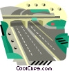 Vector Clip Art graphic  of a Highway with over pass