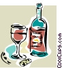 bottle of wine Vector Clip Art image