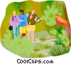 walking through a nature preserve Vector Clipart illustration