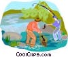 Vector Clip Art graphic  of a fishing