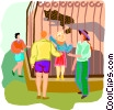visiting a zoo Vector Clipart image