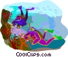 Scuba divers Vector Clipart graphic