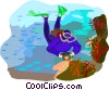 Vector Clipart illustration  of a scuba diving